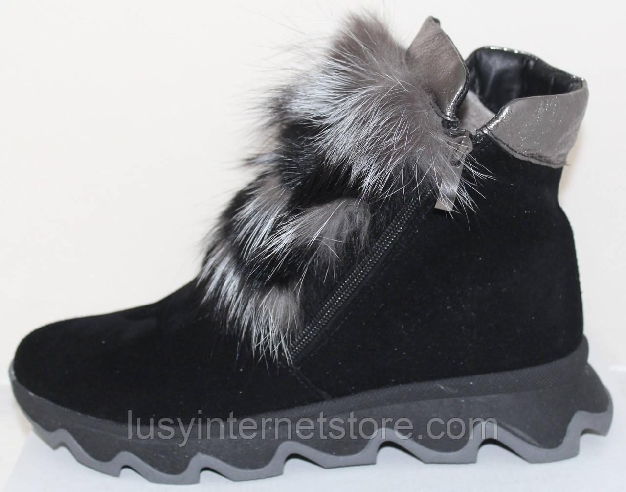 Ботинки молодежные женские с натуральным мехом от производителя модель УН433