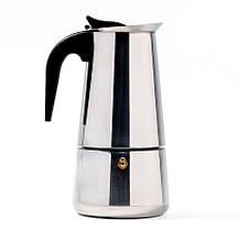 Индукционная гейзерная кофеварка из нержавеющей стали на 4 чашки Benson BN-152, фото 2