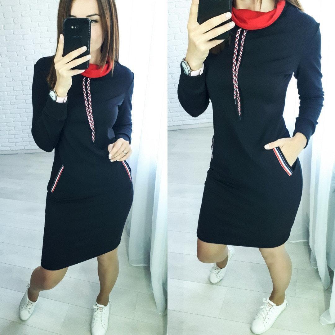 Стильное платье до колен с карманами черное