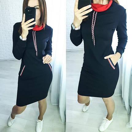 Стильное платье до колен с карманами черное, фото 2