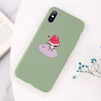 Чехол на Iphone 7 plus, 8 plus - силиконовый, зеленый, гибкий, с арбузом, противоударный