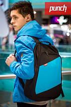 Рюкзак, PUNCH, черно-голубой, спортивный рюкзак, стильный, молодежный рюкзак, фото 3