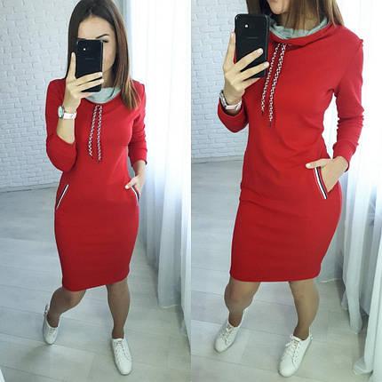 Повседневное платье высокая горловина трехцветная лента серый, фото 2