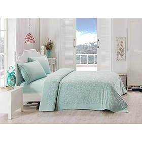 Набор постельного белья TAC сатин + махровая простынь - Lyon mint ментоловый евро