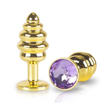 Анальная пробка золотая Flexy Gold Crystal Plug, фото 2