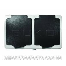 Накладная Двойная РОЗЕТКА уличная с крышкой IP54 BUKO