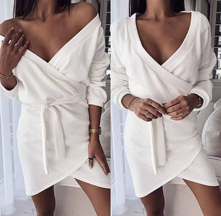Деловое платье мини с длинным рукавом и поясом цвет фрезовый, фото 2