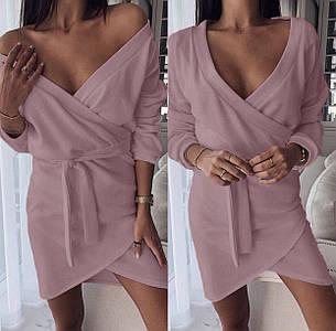 Деловое платье мини с длинным рукавом и поясом цвет фрезовый