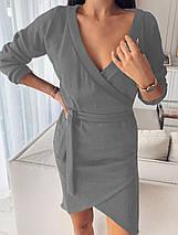 Деловое платье мини с длинным рукавом и поясом цвет фрезовый, фото 3