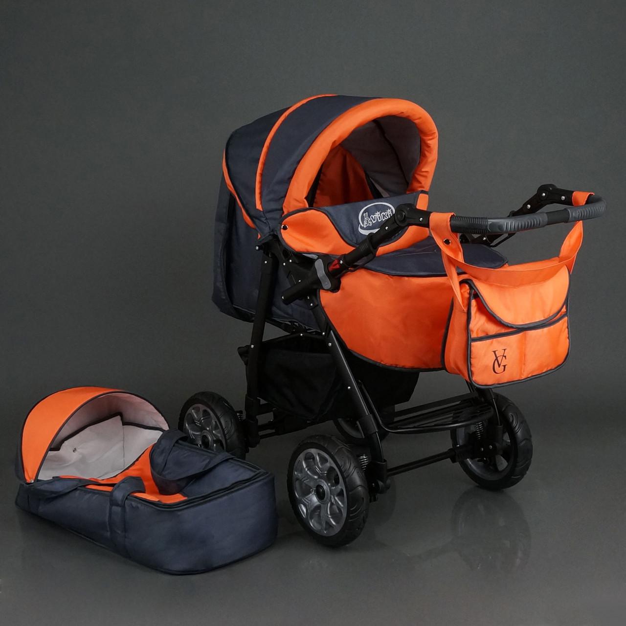 Детская коляска-трансформер Viki 86- C 16 Темно-серая с оранжевым Гарантия качества Быстрая доставка