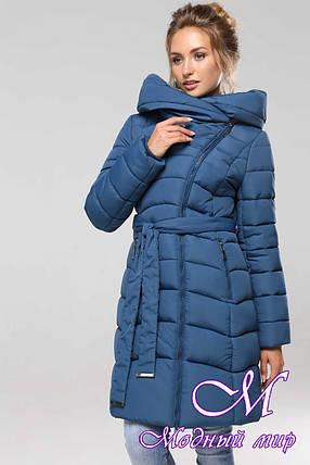 Женская теплая зимняя куртка батал (р. 42-56) арт. Альмира т. морская волна, фото 2