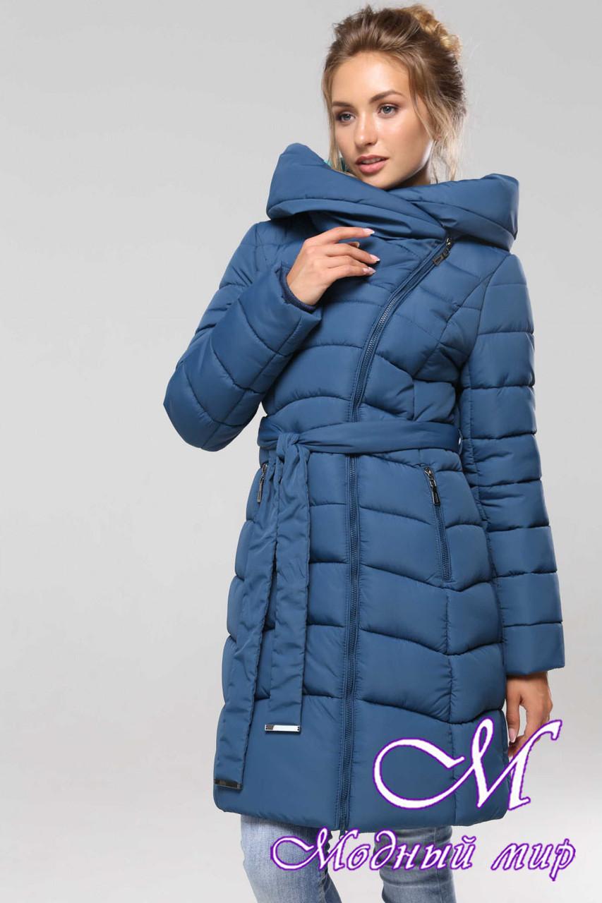 Женская теплая зимняя куртка батал (р. 42-56) арт. Альмира т. морская волна