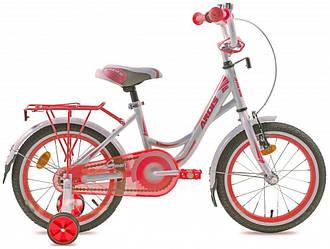 """Велосипед детский ARDIS SMART 16"""" Белый/Розовый Крылья + опорные колеса"""