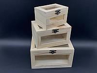 Шкатулка для декупажа с замком, петлями и стеклышком. Три шт/комплект. 18х12,5х10см