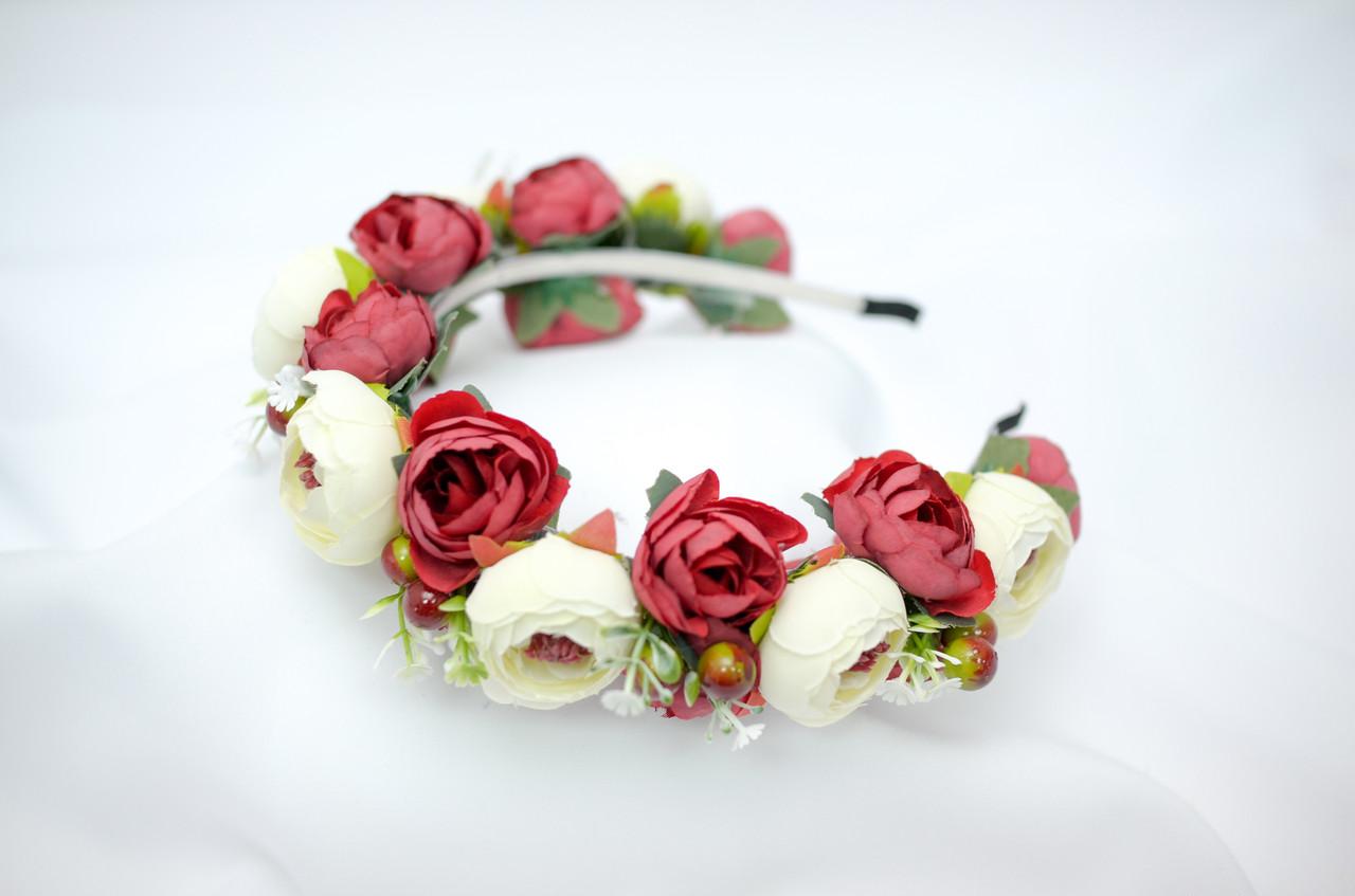 Веночек из цветов Волинські візерунки  красно-бело-зеленый 0033