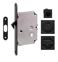Ручка для раздвижных дверей Fimet 3667R+LOCK+MQ матовый чёрный (Италия)