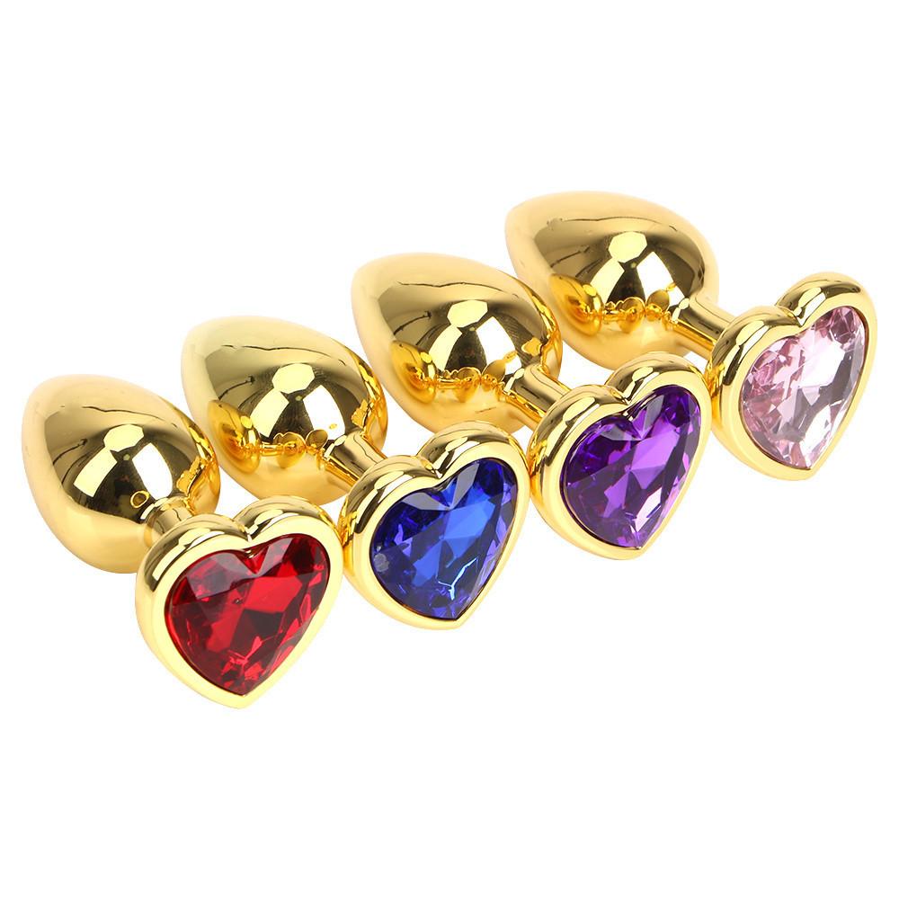 Анальная пробка большая TOYFA Metal L золотая с камушком в форме сердца