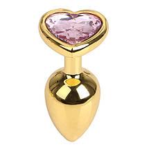 Анальная пробка большая TOYFA Metal L золотая с камушком в форме сердца, фото 3