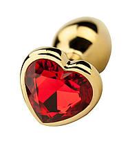 Анальная пробка большая TOYFA Metal L золотая с камушком в форме сердца, фото 2