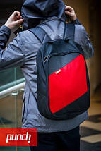 Рюкзак, PUNCH, черно-красный, спортивный рюкзак, стильный, молодежный рюкзак, фото 3