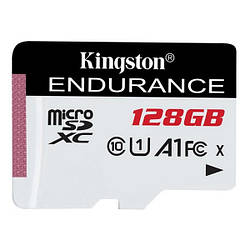 Карта памяті Kingston MicroSDXC 128 GB class 10 UHS-I A1 Endurance + SD adapter SDCE/128GB