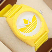 Женские наручные  спортивные часы Adidas Log 0927 Yelloy\White желто-белые