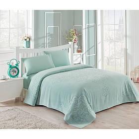 Набор постельного белья TAC сатин + махровая простынь - Dama mint ментоловый евро