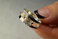 Кольцо из серебра 925 с золотом и фианитами