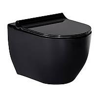 BLACK AMADEUS унитаз подвесной черный, сиденье твердое Slim slow-closing 13-06-055Black, фото 1