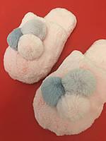 Женские тапочки Gemelli,нежно-розовый пломбир 38,39,40.Полноразмерные.Мех как натуральный.