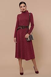 Бордовое теплое платье из ангоры с расклешенной юбкой Ава д/р