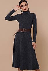 Теплое платье из ангоры с расклешенной юбкой и поясом Ава д/р синее