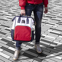 ➘USB-cумка Maikunitu Mummy Bag Blue + White для молодых мам путешествий водонепроницаемая с термокарманами USB, фото 2