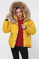 Яркая желтая зимняя женская теплая курточка короткая с мехом на капюшоне Куртка 1992