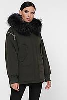 Женская зимняя свободная короткая куртка-пуховик с мехом на капюшоне Куртка М-74 хаки