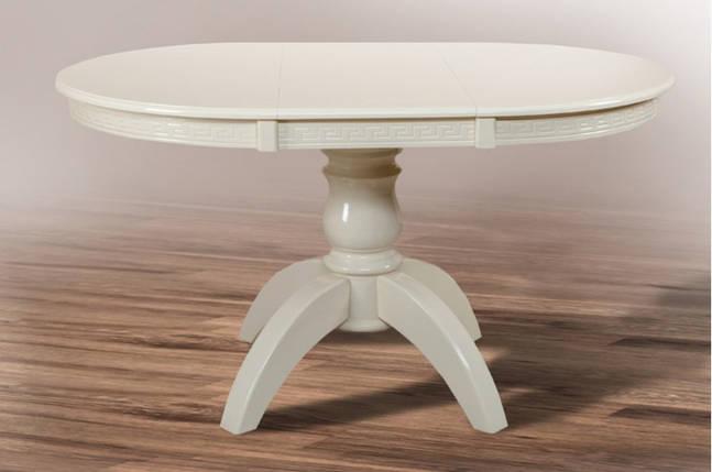 Стол обеденный раскладной Престиж d100+40 слоновая кость ТМ МиксМебель, фото 2