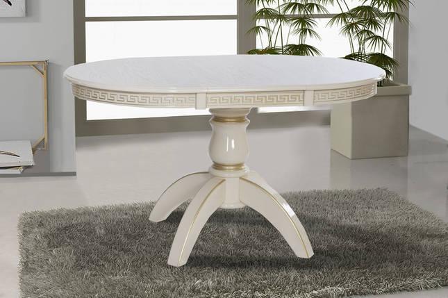 Стол обеденный раскладной Престиж d100+40 слоновая кость/патина ТМ МиксМебель, фото 2