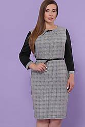 Ділове плаття міді з поясом в клітку сіре з чорним великі розміри