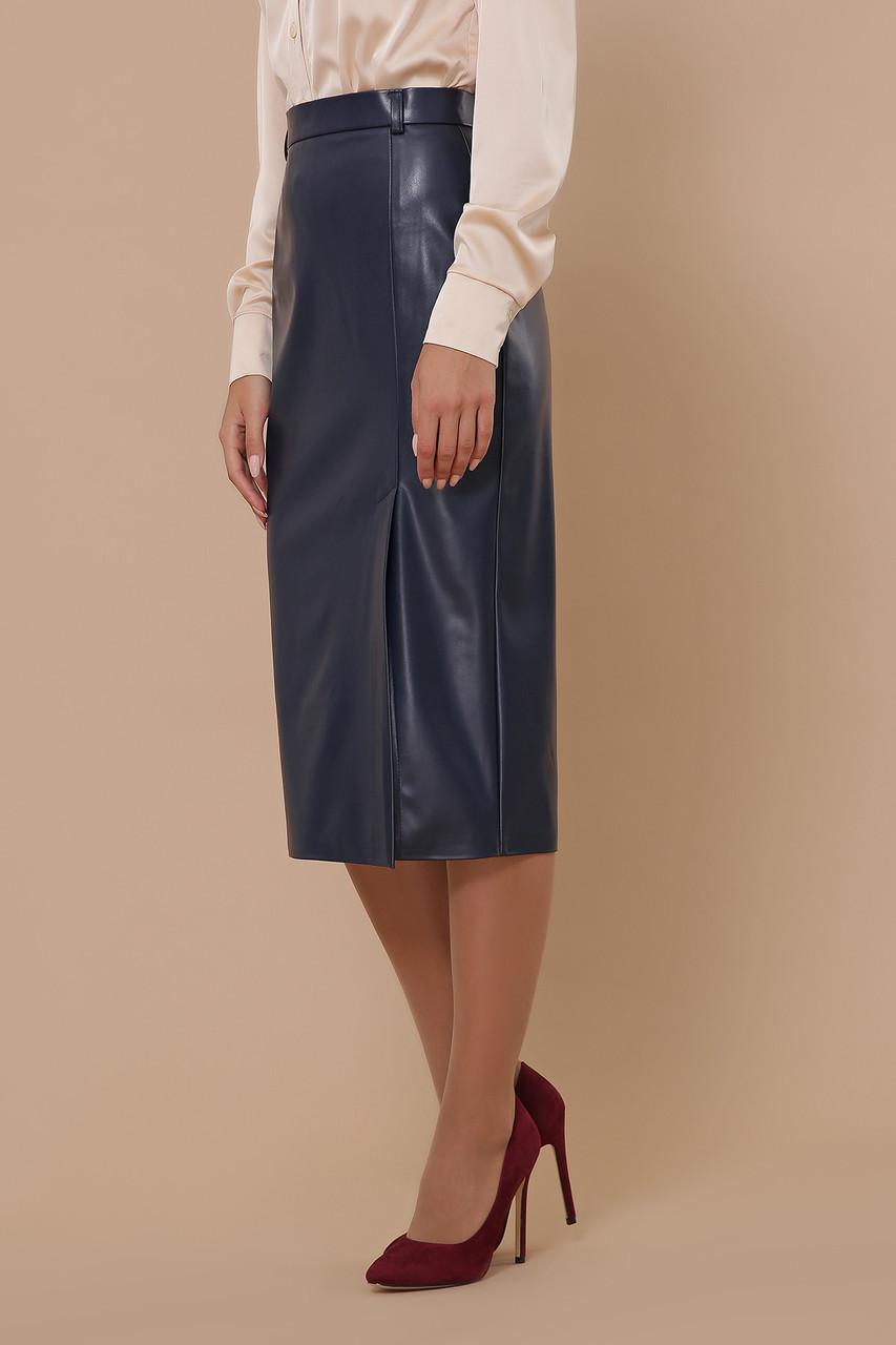 Синяя кожаная юбка миди