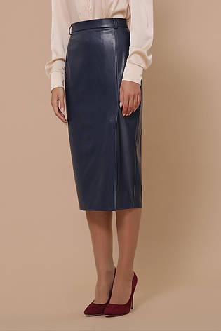Синяя кожаная юбка миди, фото 2