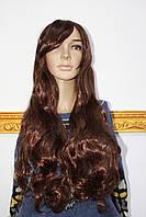 Искусственный парик термоволокно длинные волнистые волосы каштановые с челкой