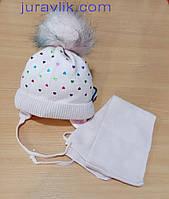 Зимняя теплая детская шапка 36-38р + шарфик   для девочек.