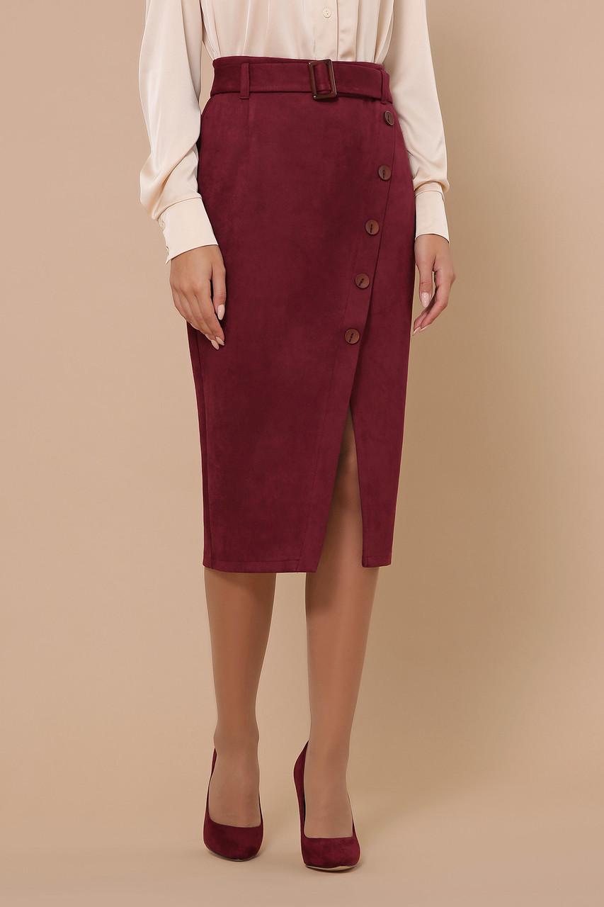 Бордовая замшевая юбка миди для офиса