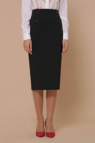 Черная облегающая юбка ниже колена, фото 2