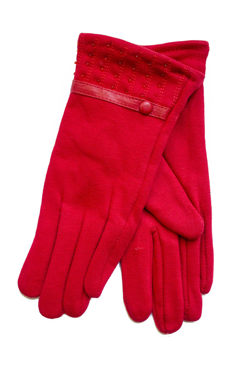 Женские стрейчевые перчатки Красные 117S2