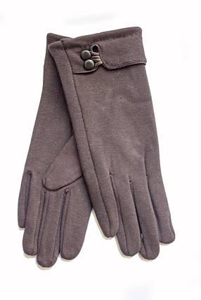 Женские стрейчевые перчатки темно-коричневые 124S1, фото 2
