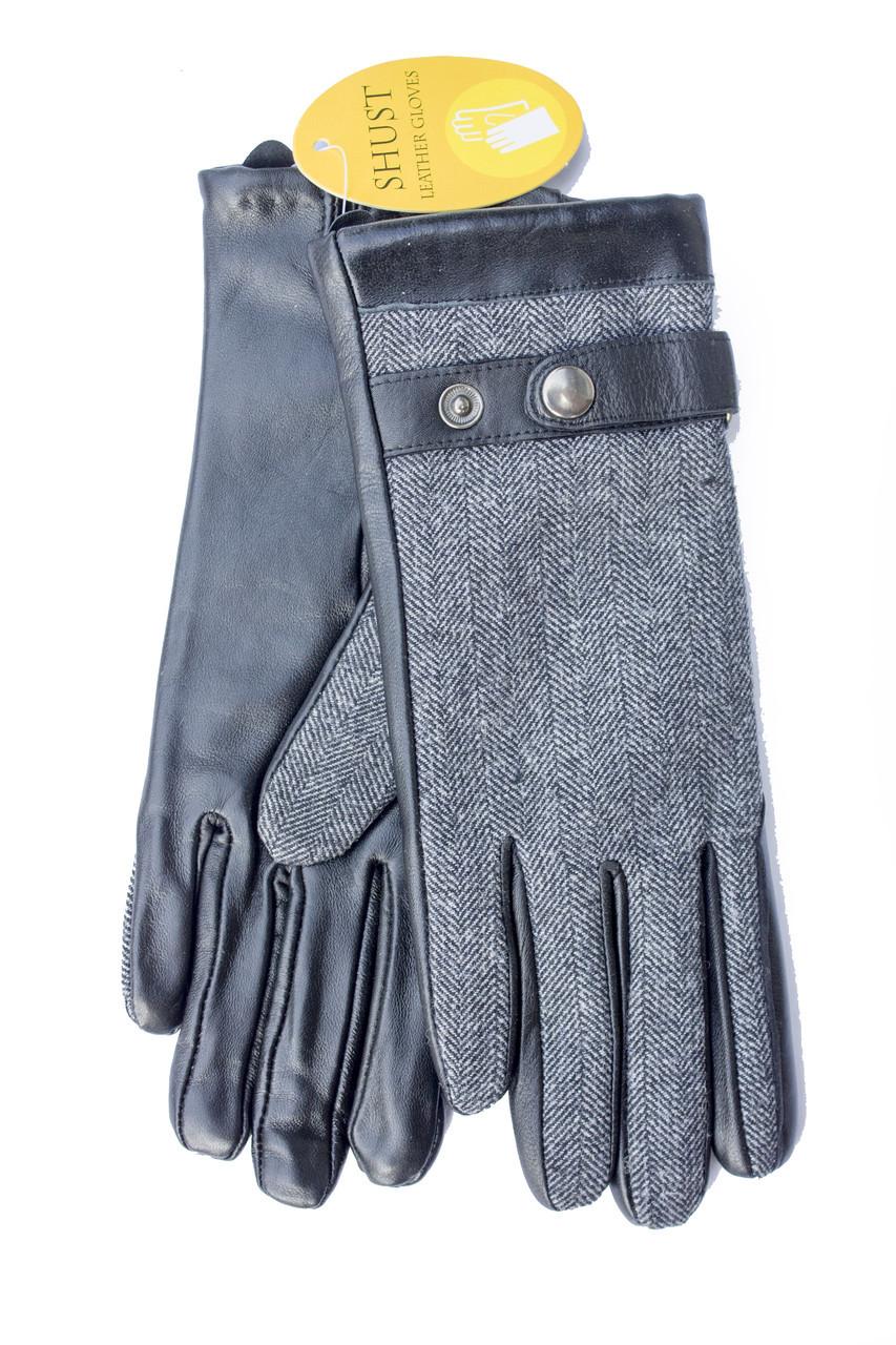 Женские комбинированные перчатки  кожа+ткань 709s2