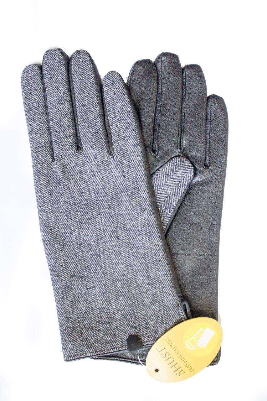 Женские комбинированные перчатки кожа+ткань 710s2