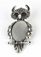 БР3800-1 Брошь сова с серым камнем 6х3см