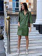 Платье анорак женское стильное из эко-кожи разные цвета Smm3770